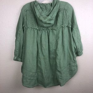 Free People Tops - Free People XS Green Hooded Baby Doll Top